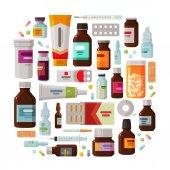 Medicine pharmacy concept Drug medication set of icons Vector illustration