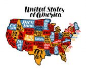 USA map country United States of America Lettering vector illustration