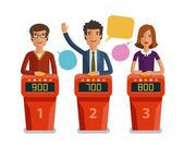 Quiz show game concept Players answering questions standing at stand with buttons