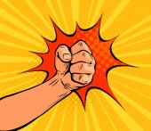 Fist punching crushing blow or strong punch drawn in pop art retro comic style Cartoon vector illustration