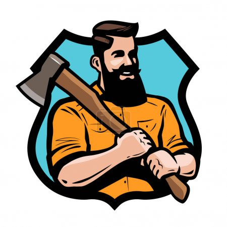 Illustration for Sawmill, joinery lumberjack holding an axe his hands - Royalty Free Image