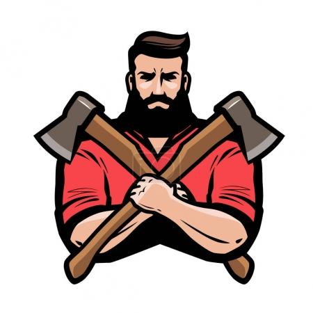 Illustration for Sawmill, joinery, carpentry logo or label. Lumberjack holds crossed axes in hands. Cartoon vector - Royalty Free Image
