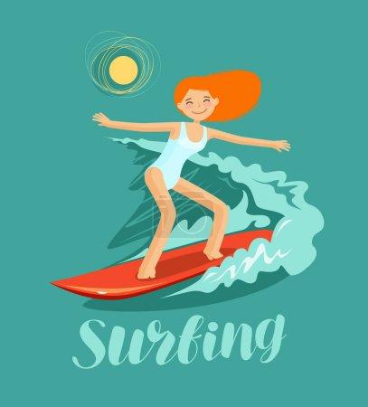 Illustration pour Surfeuse et vague. Surf, illustration vectorielle - image libre de droit