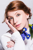 beautiful woman with iris flowers