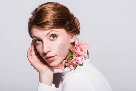 attractive girl with lilies