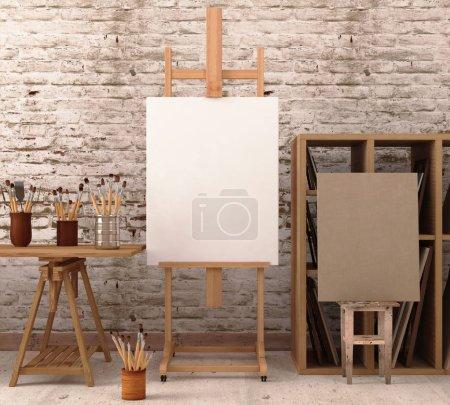 Photo pour Maquette en atelier avec rendu easel.3d. Illustration 3d - image libre de droit