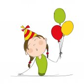 Happy girl with colorful balloons and party hat celebrating