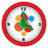 Clock with gears - vector illustration
