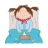Sick girl with chickenpox measles rubeola or skin rash