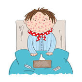 Sick boy with chickenpox measles rubeola or skin rash