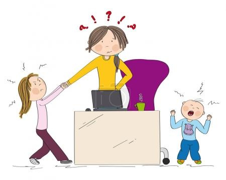 Naughty kids (sibling) fighting mother's attention...