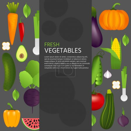 Healthy vegetables: carrot, onion, tomato, pepper, eggplant, cucumber, cabbage, pumpkin, marrow watermelon avocado. Quality vector illustration about diet eco food vegan