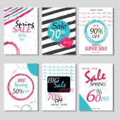 Set of 6 spring discount cards design Can be used for social media sale websites posters flyers email newsletter ads promotional materials Mobile banners templates