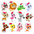 Funny Christmas animals. Vector isolated elements....