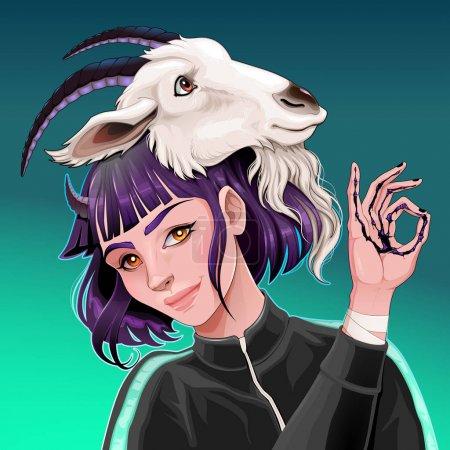 Illustration pour Belle fille avec une chèvre sur la tête. Illustration d'horreur vectorielle - image libre de droit