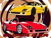 Sports car Italian legend vector illustration