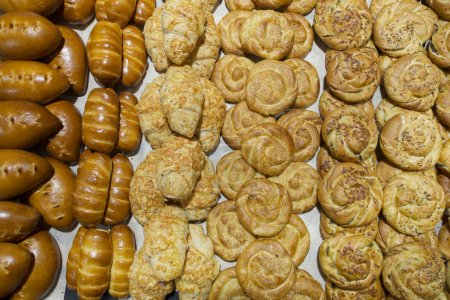 Different kinds of bakery in confectionery department in store