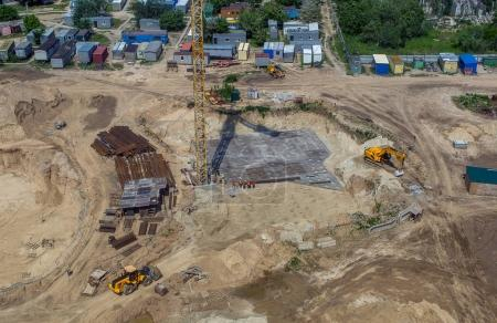 Aerial view of foundation of construction of apartment house