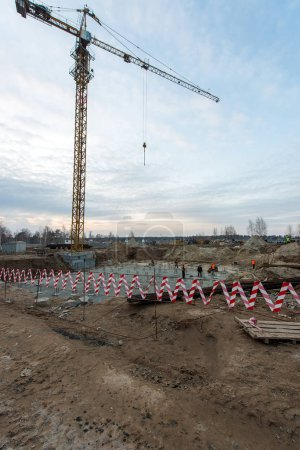 Ukraine, Brovary November 13, 2017: laying the foundation for the construction of a residential house