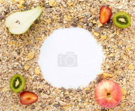 Cereals spread out on Background with fresh Fruits