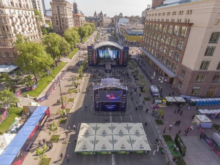 A scene in the Eurovision village on Khreshchatyk Street in Kiev