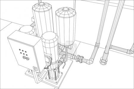 Water purification station. Industrial equipment. Tracing illustration of 3d