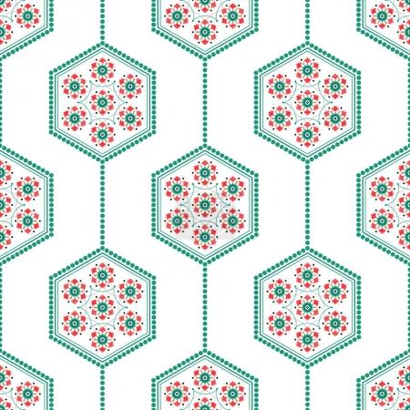 Seamless geometric pattern of Islamic floral ornament of palm leaves and tulips wreath inside the shape of hexagon. Dotted garlands.