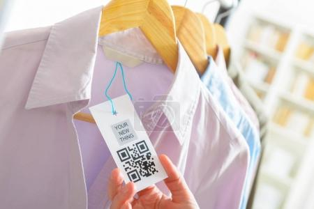 Cloth label with QR code