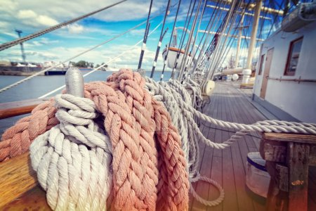 Ropes on a sailboat