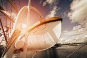 Life boat on sailing ship