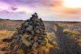 Cairns piles of volcanic stones