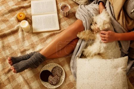 Photo pour Femme avec des biscuits de pain d'épice douce, livre, boisson chaude et mignon chien couché sur le lit dans la chambre au confort douillet - image libre de droit
