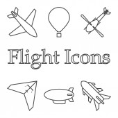 Icons of air vehicles Vector on white background