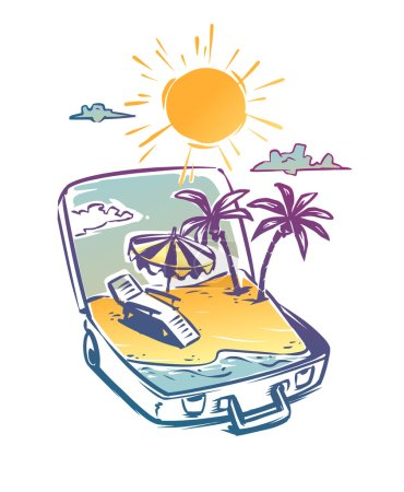 Open suitcase with a tropical paradise vacation. Hand drawn illustration