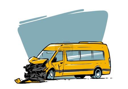 Minibus crash. Hand drawn illustration