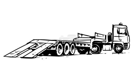flatbed trailer truck. Hand drawn illustration