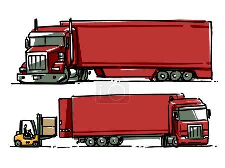 Semi Truck Sketch Illustration. Forklift Loading The Truck