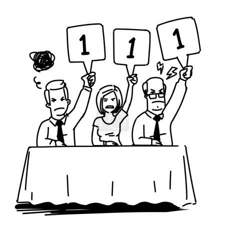 gruppe von richtern zeigen scorekarten