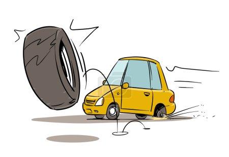 Wheel falls off on road.