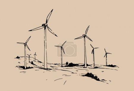 wind turbines. sketch illustration.
