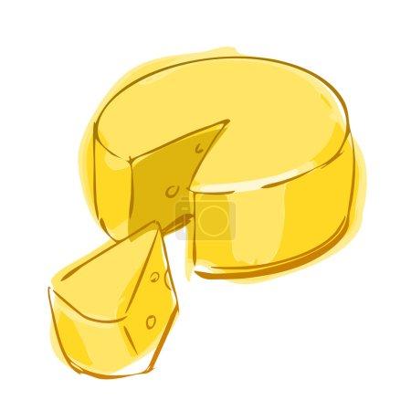 Illustration pour Illustration vectorielle de croquis couleur roue de fromage sur fond blanc - image libre de droit