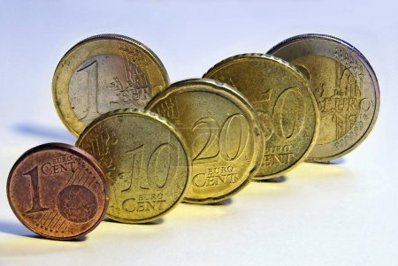 Photo for Euro coins, 1 cent, 10 cents, 20 cents, 50 cents, 1 euro and 2 euros - Royalty Free Image