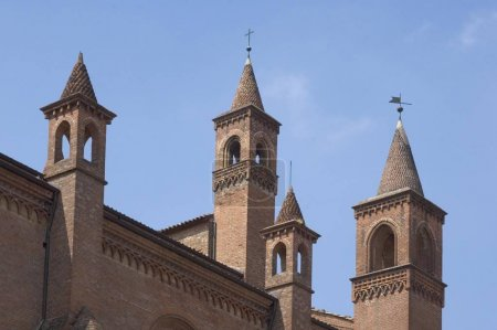 Alba Piedmont Piemonte Italy little towers on the rooftop of the duomo dome S. Lornezo