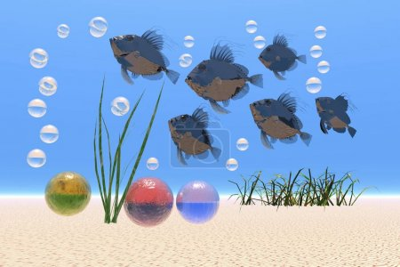 Fish and bubbles under water, fantasy image, illustration