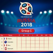 Group C Qualifier Table Russia 2018 World Cup Vector