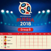 Group B Qualifier Table Russia 2018 World Cup Vector