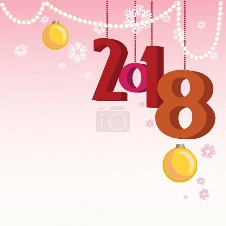 Ilustración de Tarjeta de felicitación para el nuevo año con los copos de nieve, bolas y abalorios - Imagen libre de derechos