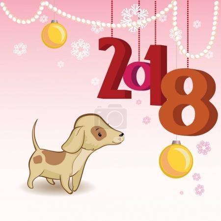 Ilustración de Tarjeta de felicitación de Navidad con copos de nieve, perlas y un perro. - Imagen libre de derechos