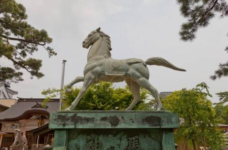 Horse statue in Tatsuki Shinto Shrine of Okazaki Castle, Japan