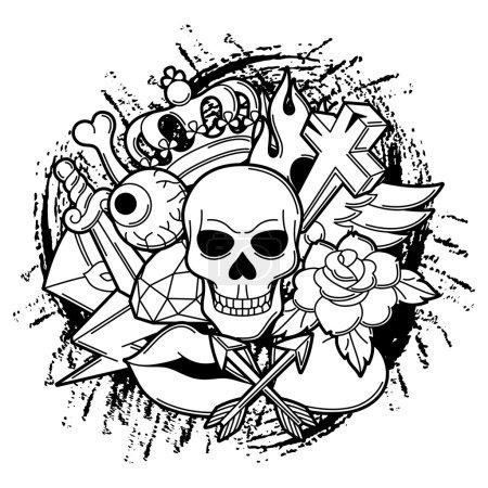 Print with retro tattoo symbols. Cartoon old school illustration
